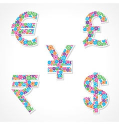 Group of gear make currency symbols vector image