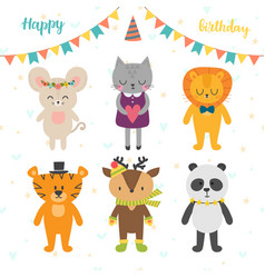 happy birthday card with cute cartoon animals vector image