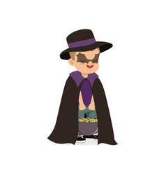 Little boy dressed as a bat cute kid in halloween vector