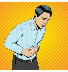 Man suffering stomach pain pop art retro vector image vector image