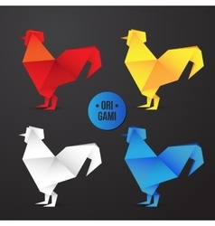 paper origami rooster icon Colorful vector image vector image
