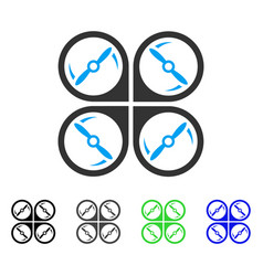 Quadcopter screws rotation flat icon vector
