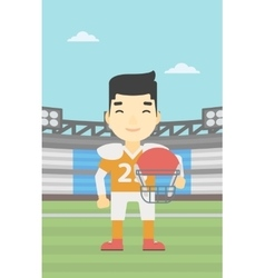 Rugby player with ball and helmet in hands vector image