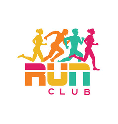 run club logo template colorful emblem with vector image