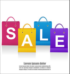 Sale wording on shoping bags on white background vector