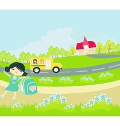 school bus heading to school with happy children vector image vector image
