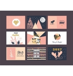 Set of artistic creative Merry Christmas and New vector image vector image