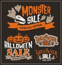 Set of halloween sale promotion badges and labels vector