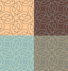Set of linear calligraphic seamless patterns vector
