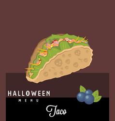 taco halloween menu vector image