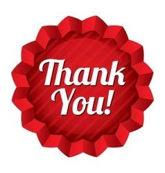 Thank you tag red round star sticker vector