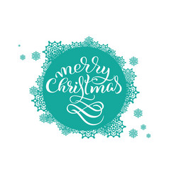 Turquoise round background with snowflakes on vector