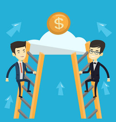 two business men competing for the money vector image vector image