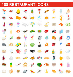 100 restaurant icons set isometric 3d style vector