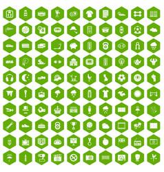 100 soccer icons hexagon green vector