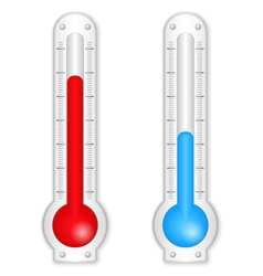 Red and blue thermometers vector