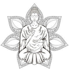 Sitting buddha in lotus pose isolated on vector