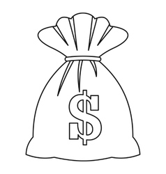 Bag with dollars icon outline style vector