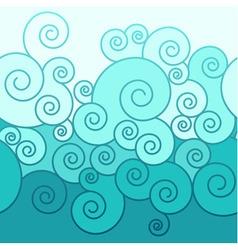 Seamless swirl border in sea colors vector