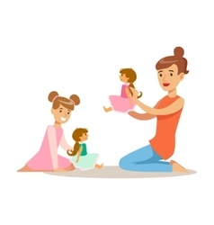 Mom and daughter playing dolls loving mother vector