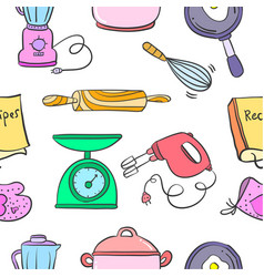 Kitchen set pattern style collection vector