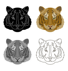 Tiger icon in cartoon style isolated on white vector