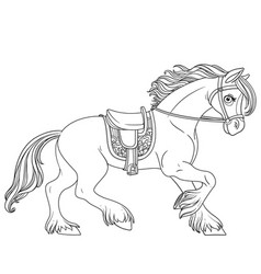 cute cartoon horse harnessed in a harness runs vector image