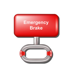 Emergency brake in red and metal design vector