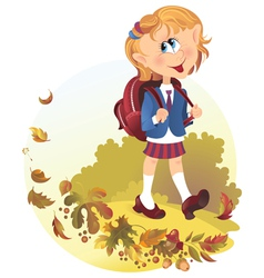 Cute little girl with backpack goes to school vector image