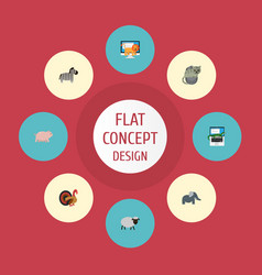 Flat icons reptile horse swine and other vector