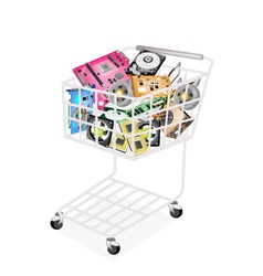 Set of hardware computer in a shopping cart vector