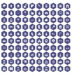 100 kindergarten icons hexagon purple vector