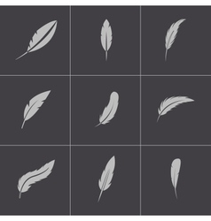 Black feather icons set vector