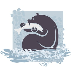 Grizzly catching salmon vector