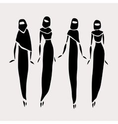East women in veiled vector