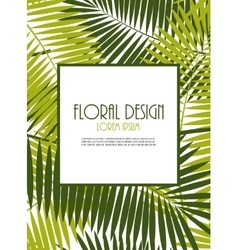 Palm leaf frame background vector