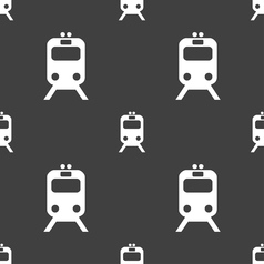 Train icon sign seamless pattern on a gray vector