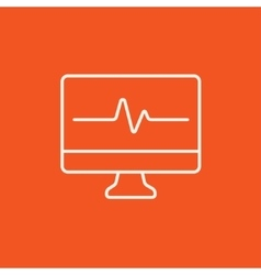 Heart beat monitor line icon vector