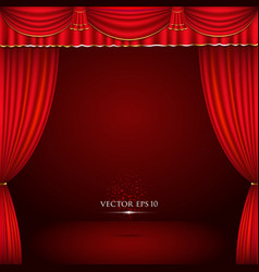 Red and gold theater curtain classic vector