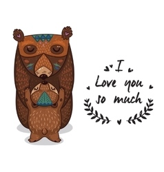Cute bears with text i love you so vector