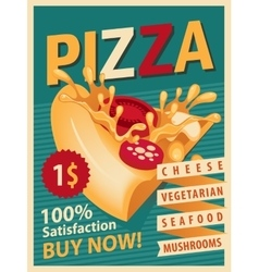 Retro banner with slice of pizza vector image