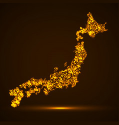 abstract map of japan with glowing particles vector image