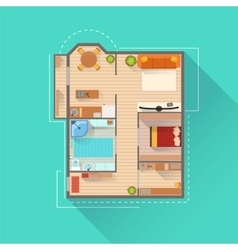 Apartment interior design project view from above vector