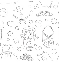 Baby girl design pattern vector image