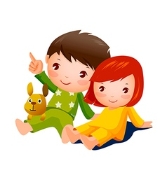 Boy and Girl sitting vector image