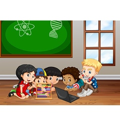 Children working in classroom vector image vector image