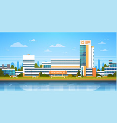 city landscape with hospital building exterior vector image vector image