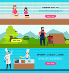 Cookery people horizontal banners vector