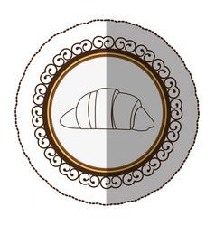 Emblem silhouette croissant bread icon vector