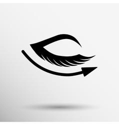 Eye with lashes long eyelashes icon vector